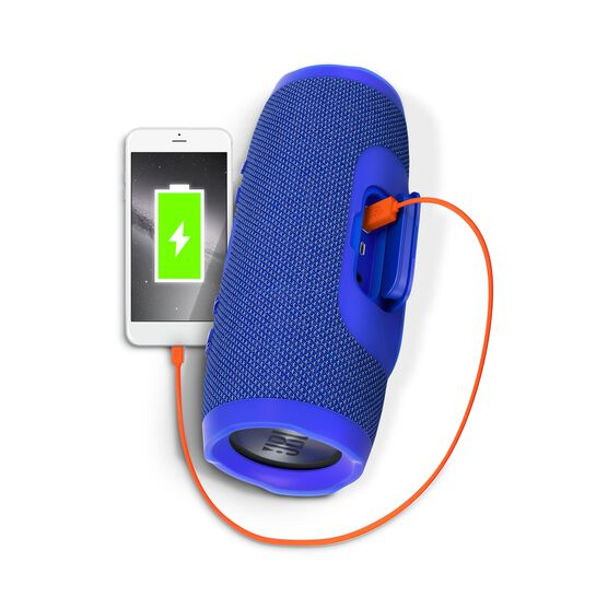 JBL Charge 3 - Blue - Full-featured waterproof portable speaker with high-capacity battery to charge your devices - Detailshot 1