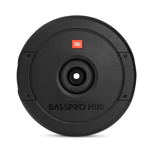 """JBL BassPro Hub - Black - 11"""" (279mm) Spare tire subwoofer with built-in 200W RMS amplifier with remote control. - Front"""