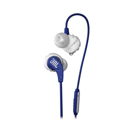 JBL Endurance RUN - Blue - Sweatproof Wired Sport In-Ear Headphones - Hero