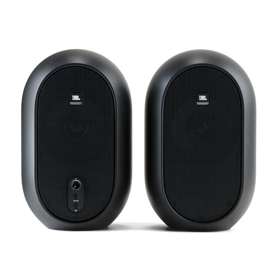 JBL One Series 104 (Pair) - Black - Compact Powered Desktop Reference Monitors - Front