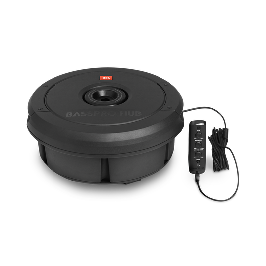 """JBL BassPro Hub - Black - 11"""" (279mm) Spare tire subwoofer with built-in 200W RMS amplifier with remote control. - Detailshot 2"""