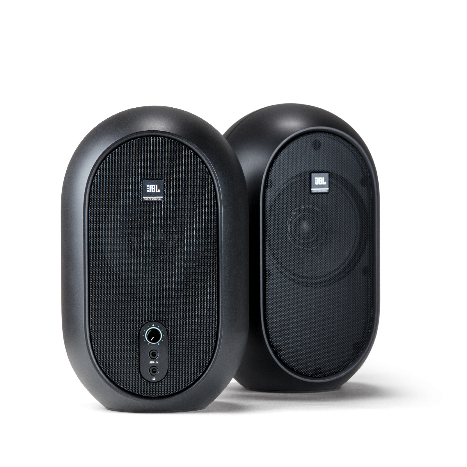 JBL One Series 104 (Pair) - Black - Compact Powered Desktop Reference Monitors - Hero